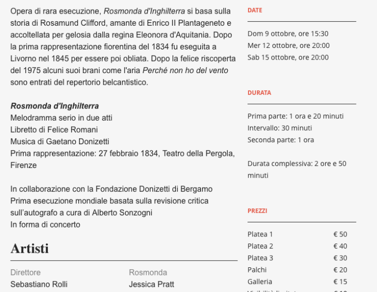 Florence Opera information page in its original italian version