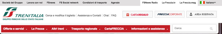 There are a number of menu options for the Italian site, including information on Cartafreccia, the train loyalty and discount card.